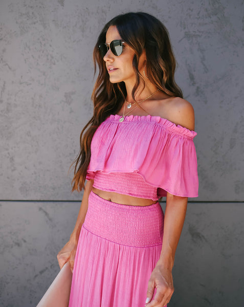 Hey Now Off The Shoulder Smocked Ruffle Crop Top