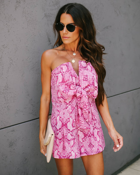 Acting Up Snake Print Strapless Tie Front Romper