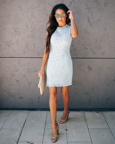 Graceland Floral Lace Dress - Powder Blue