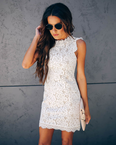 Graceland Floral Lace Dress - White