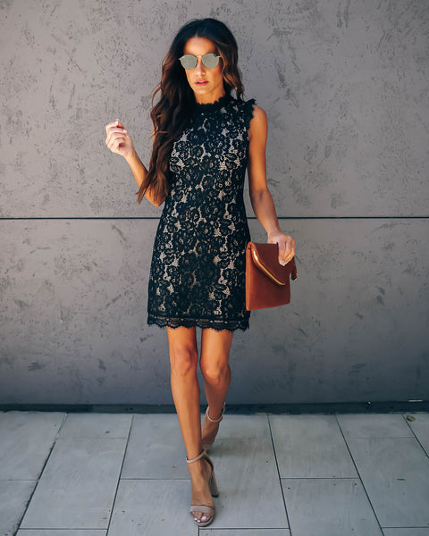 Graceland Floral Lace Dress - Black