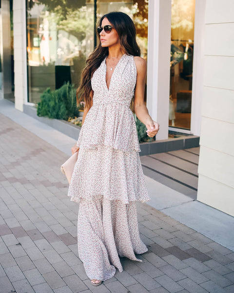 In The Air Floral Tiered Halter Maxi Dress