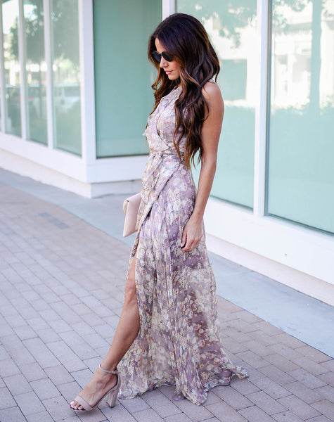 Irvine Floral Ruffle Wrap Maxi Dress