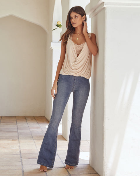 Penny Pull-On Flare Jeans - Authentic Blue - FREE PEOPLE