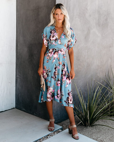 Aloe Vera Floral Midi Dress