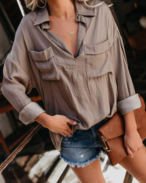 Always Busy Satin Utility Blouse - Silver Olive