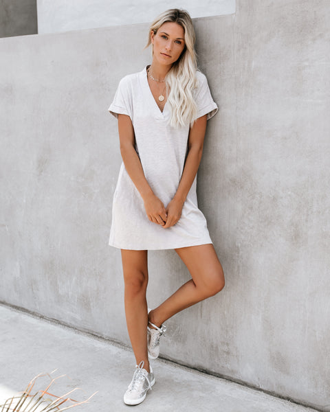 Amiable Pocketed Jersey T-Shirt Dress - Rock