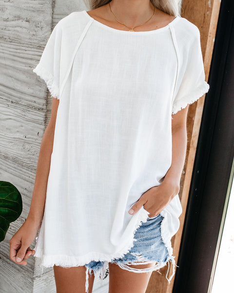 Around The Edge Fringe Cotton Blend Top - Off White
