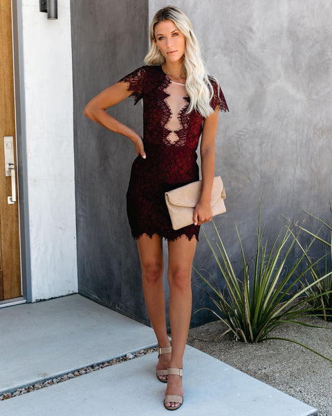 Beyond Words Lace Dress - Burgundy