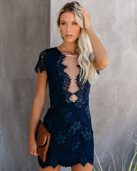 Beyond Words Lace Dress - Navy