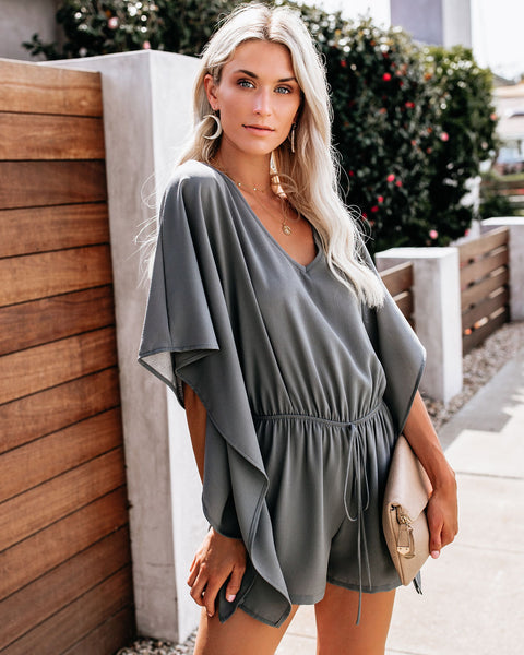Born To Fly Kimono Romper - Medium Grey