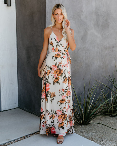 Busy Bee Floral Wrap Maxi Dress