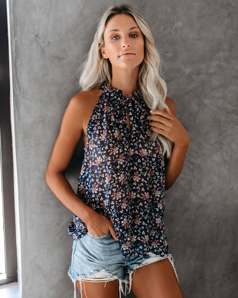 By My Side Floral Ruffle Tie Top