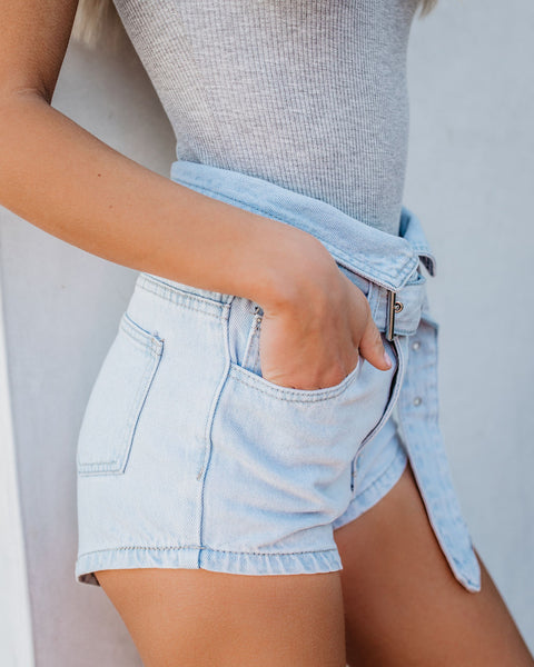 Demi High Rise Belted Denim Shorts - FINAL SALE
