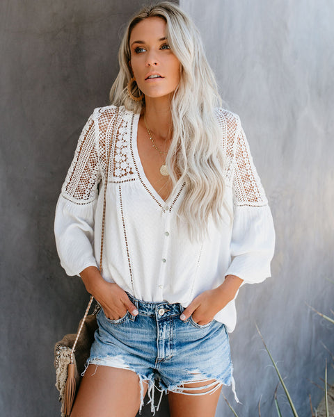 PREORDER - Du Jour Crochet Blouse - Off White