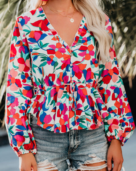 Farmgirl Adjustable Floral Top - FINAL SALE