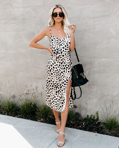 Fast Feline Leopard Midi Slip Dress - SHIPPING MIDDLE OF NEXT WEEK