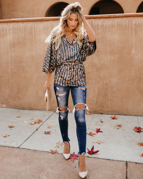 Glimmer Of Hope Sequin Tunic - Navy