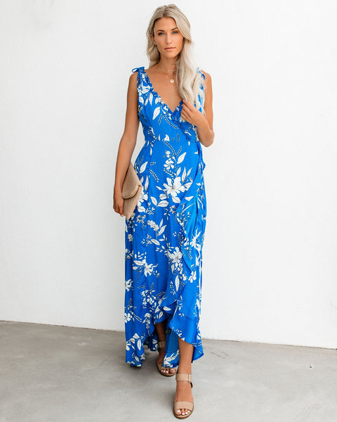 Going Coastal Floral High Low Wrap Maxi Dress - Blue