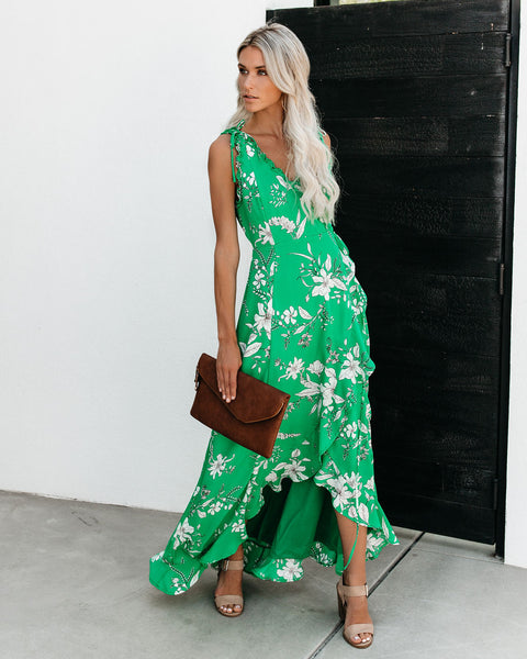 Going Coastal Floral High Low Wrap Maxi Dress - Kelly Green - FINAL SALE