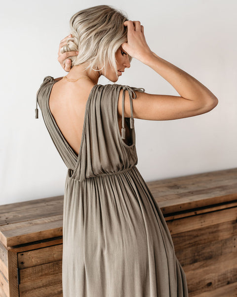 Greek Goddess Maxi Romper - Olive