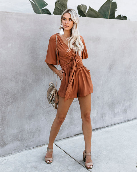 Hello Again Tie Pocketed Romper - Canyon