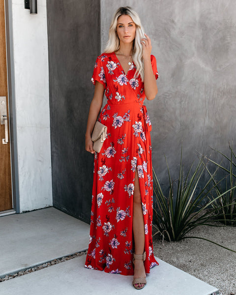 Hot In Here Floral Wrap Maxi Dress