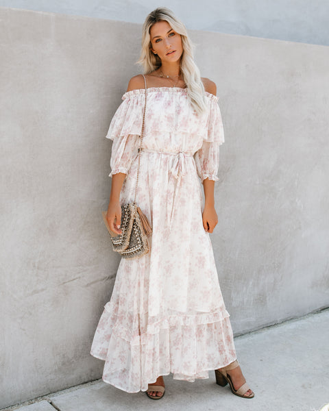 Meadow Lane Off The Shoulder Ruffle Maxi Dress