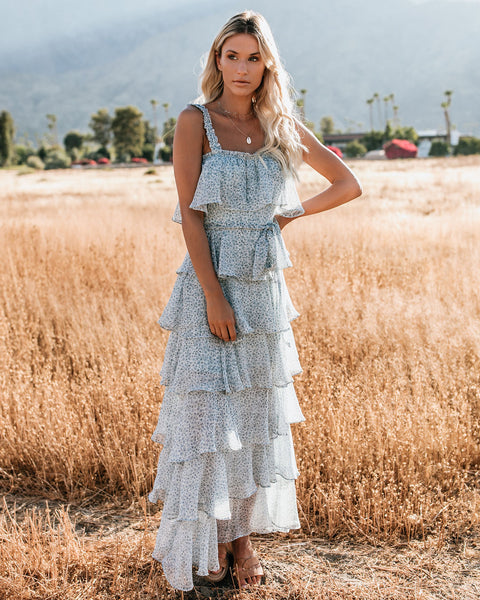 Mystic Ocean Tiered Ruffle Maxi Dress