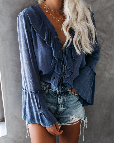 Sparrow Lace Up Ruffle Top - Midnight Blue