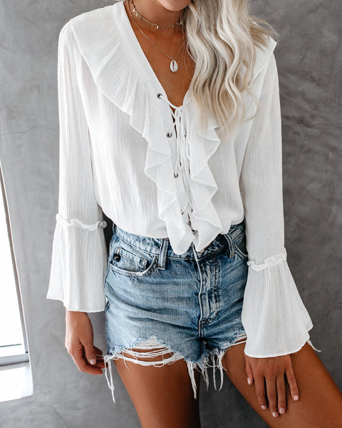 Sparrow Lace Up Ruffle Top - White