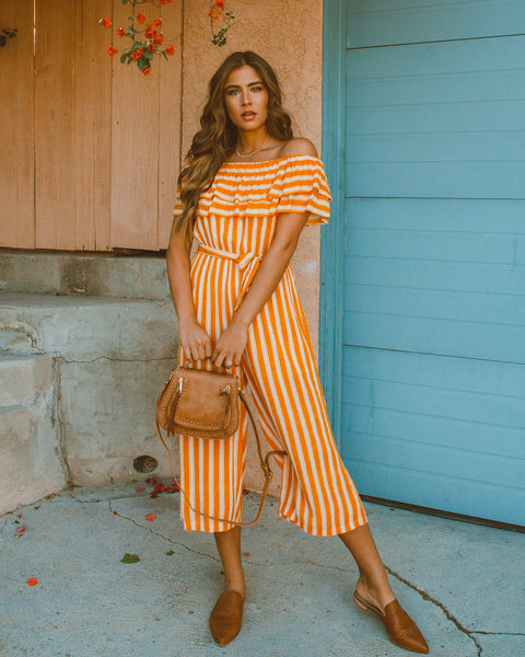 Sunny Stroll Off The Shoulder Jumpsuit - Mustard