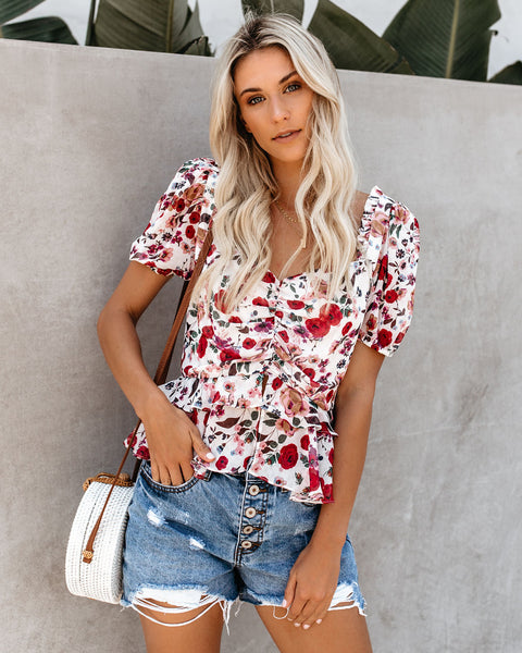 Swept Off My Feet Floral Ruffle Top