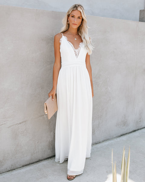 The Gala Lace Slit Maxi Dress - White