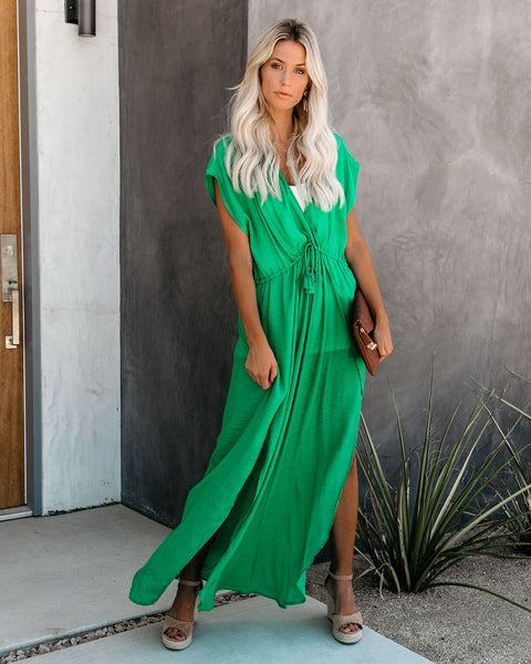 Wet Suit Cover-Up Maxi Dress - Green