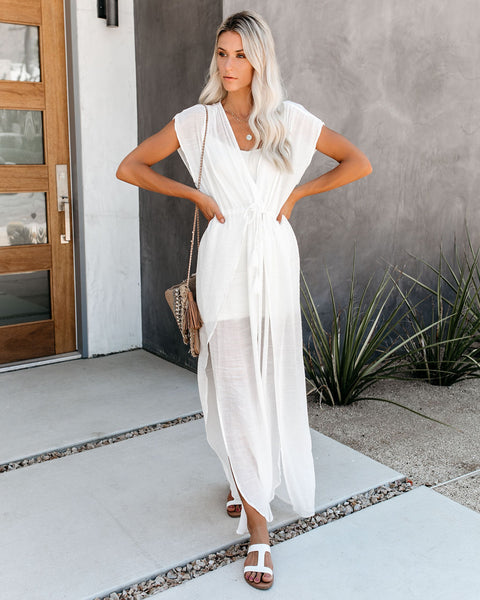 Wet Suit Cover-Up Maxi Dress - White