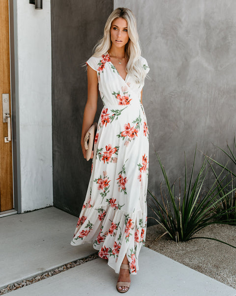 What's In Season Floral Wrap Maxi Dress