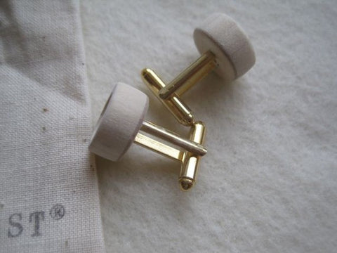 CUFF LINK SET, White Inscribed, Small