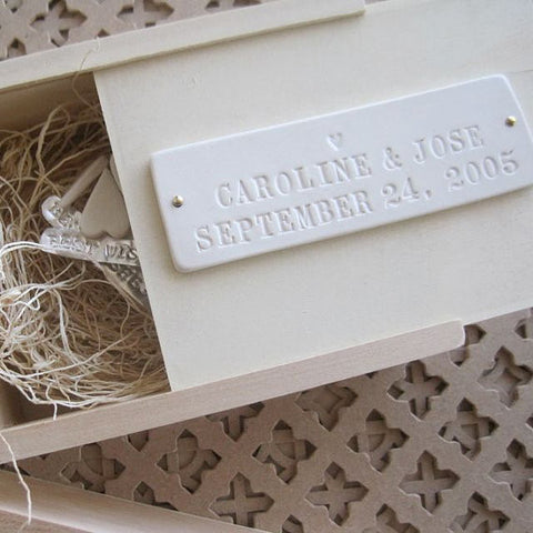 Wooden Keepsake Box with Personalized Tile