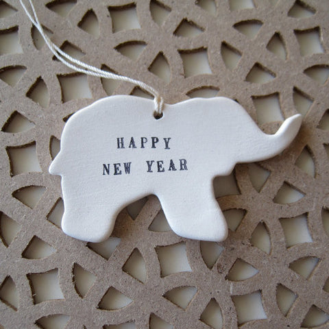 Happy New Year elephant ornament