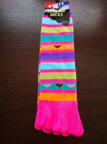 Pink Toe Socks with Stripes and Colorful Hearts - Carrie's Closet