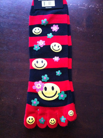 Happy Face Toe Socks with Flowers - Carrie's Closet