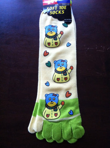Yellow Teddy Bear Toe Socks - Carrie's Closet