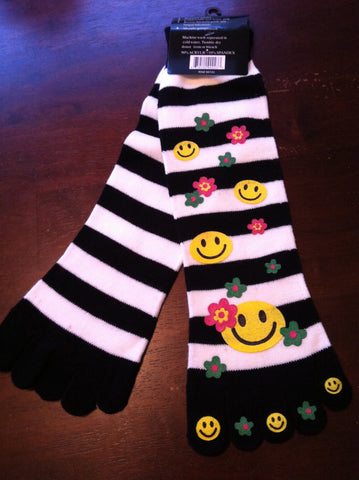 Smiley Face Toe Socks Black and White Stripes - Carrie's Closet