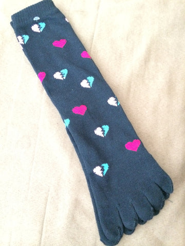 Black Toe Socks with colorful mended hearts - Carrie's Closet