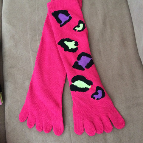 Hot Pink Toe Socks with Colorful Leopard Spots - Carrie's Closet