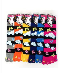 Striped Fluffy Cloud Toe Socks with Toe Decals - Carrie's Closet