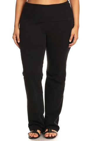 Black Mineral Washed Boot Cut Plus Size leggings - Carrie's Closet