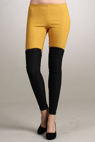 "Mustard and Black ""Riding Pants"" Ponte Leggings - Carrie's Closet"