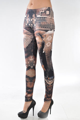Aztecs & Elephant Leggings - Carrie's Closet
